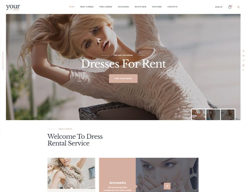 Your Dress Tema WordPress para Aluguel de Roupas e vestidos