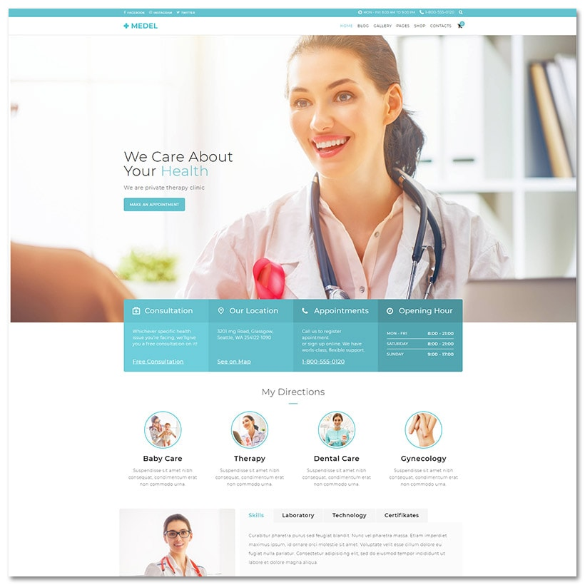 Medel - Medical & Saúde WordPress Theme