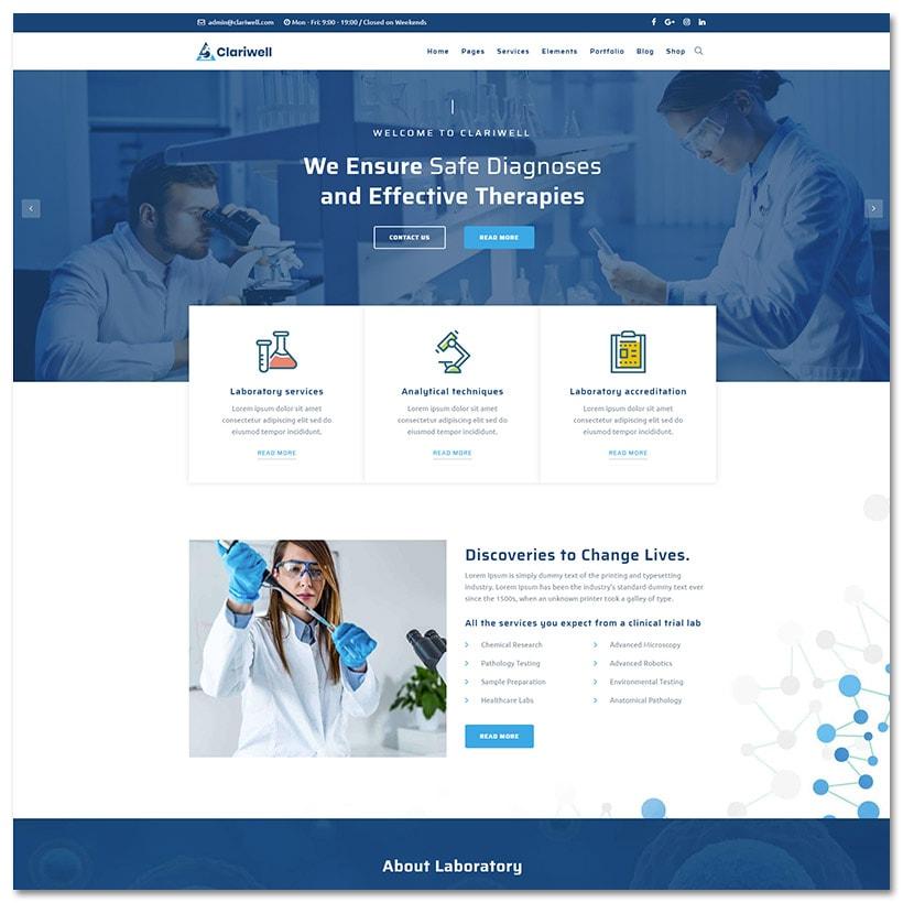 Clariwell - Laboratório Médico e Pesquisa WordPress Tema