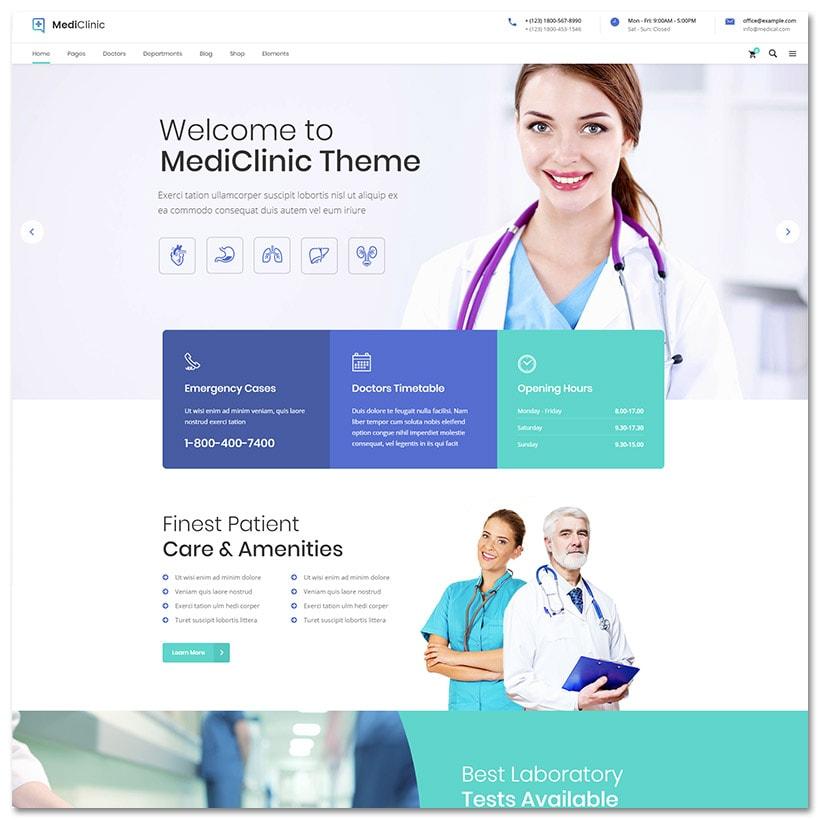 MediClinic - Tema para Serviços Médicos de Saúde