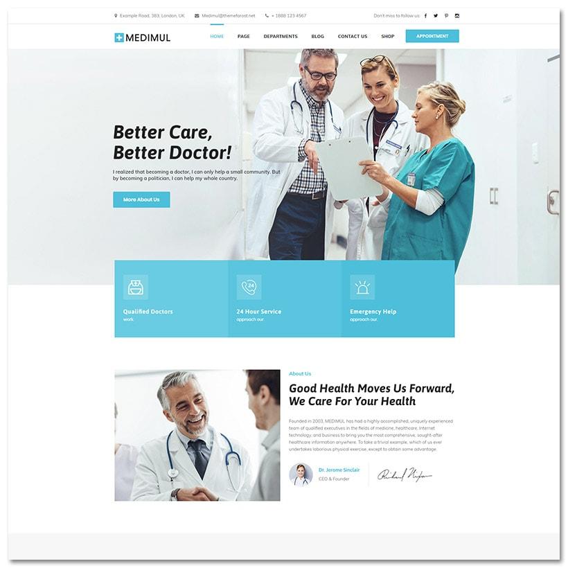 Medimul - Tema de WordPress de saúde médica de múltiplos propósitos