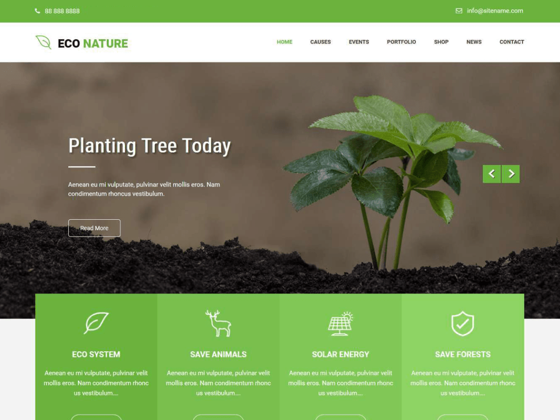 Tema WordPress Ecologico e Natureza