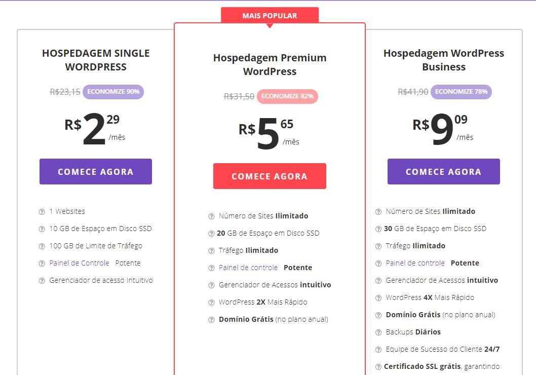 Tabela Hospedagem WordPress Hostinger