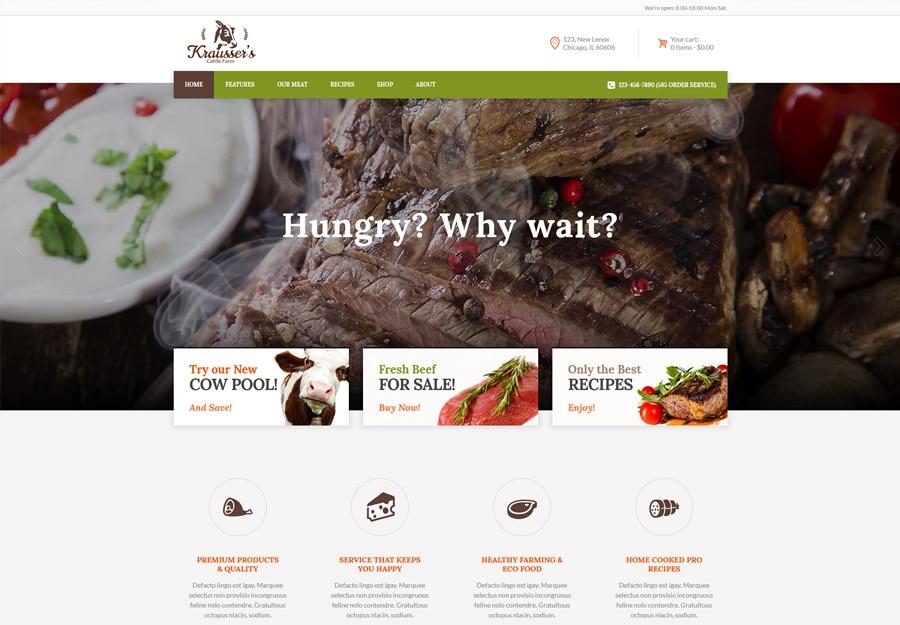 Tema WordPress Fazenda de gado e mercado de produtos