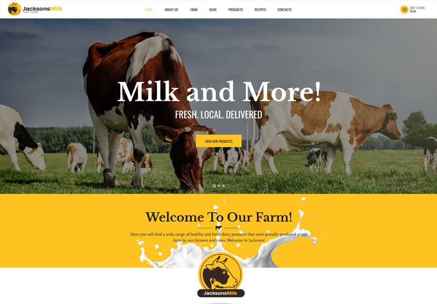 Tema WordPress para Fazenda de Laticínios e Produtos Ecológicos