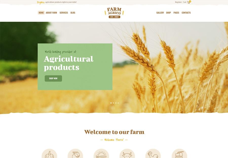 Tema de WordPress de negócios agrícolas