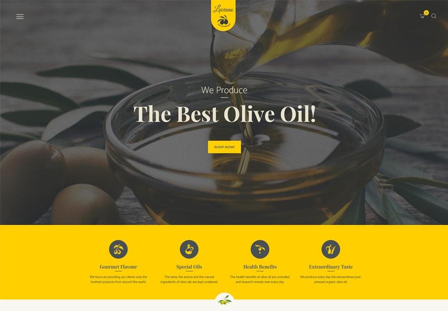 Tema WordPress de produção de azeite e vinagres