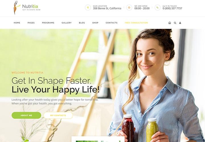 Nutritia - Tema WordPress Sobre Nutrição Saudável e Dietologia