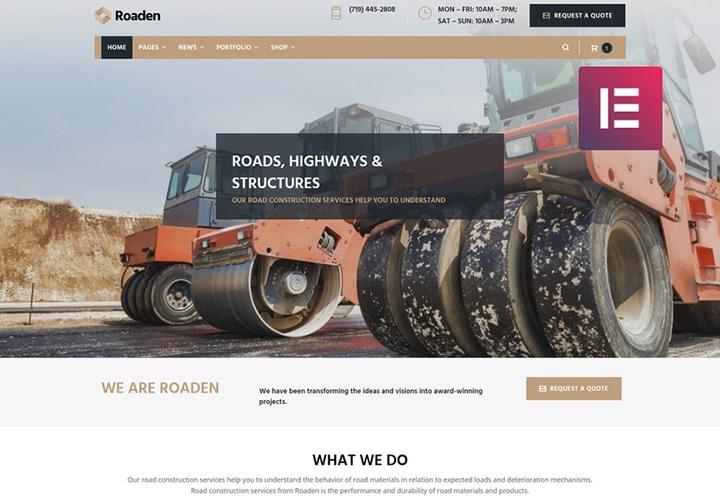Roaden - Tema WordPress de Construção de Estradas com Elementor