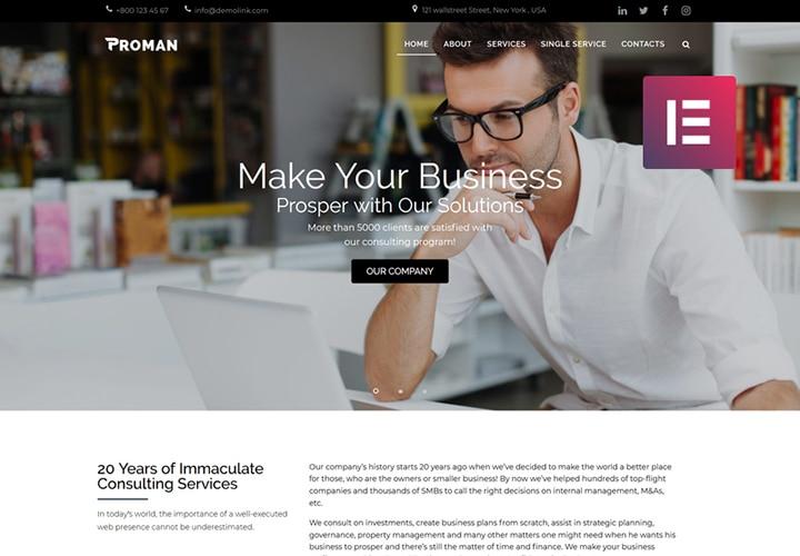 Proman - Tema WordPress Negócios Multipropósito Moderno com Elementor
