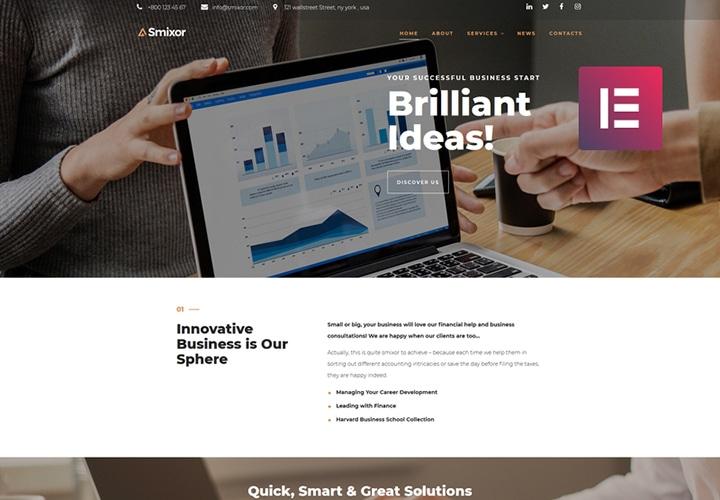 Smixor - Tema WordPress Negócios Multipropósito com Elementor