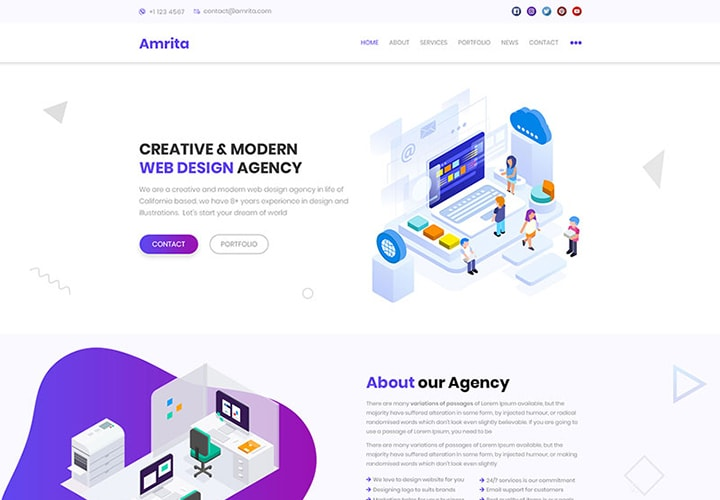 Amrita - Tema WordPress para Site de Negócios Multipropósito