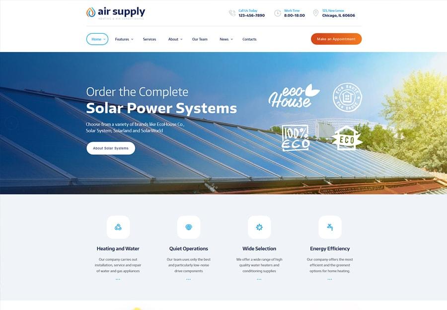Air Suply - Tema WordPress para Empresa de condicionamento e Serviços de Aquecimento