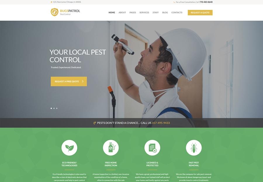 BugsPatrol - Tema WordPress para Serviços de Controle de Pragas