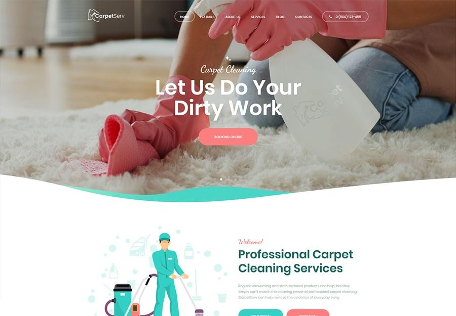 CarpetServ - Tema WordPress para Empresas e Serviços de limpeza