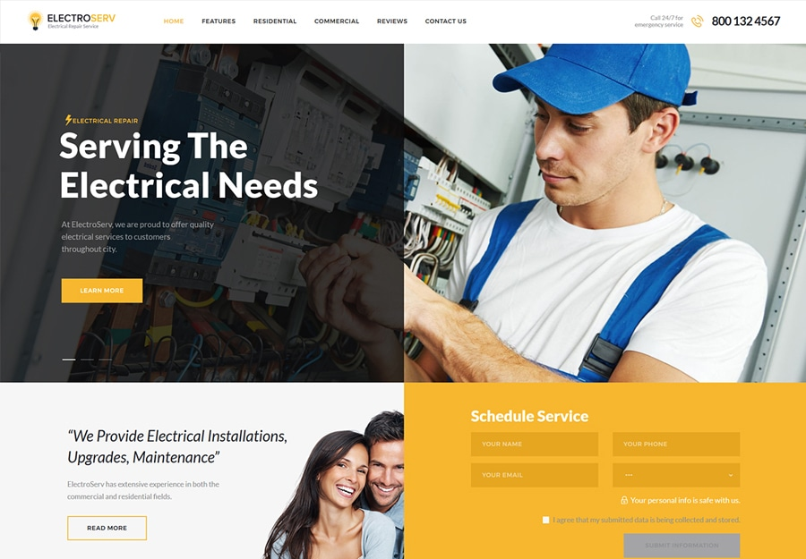 ElectroServ - Tema WordPress para Serviço de Reparo Elétrico e Eletricista