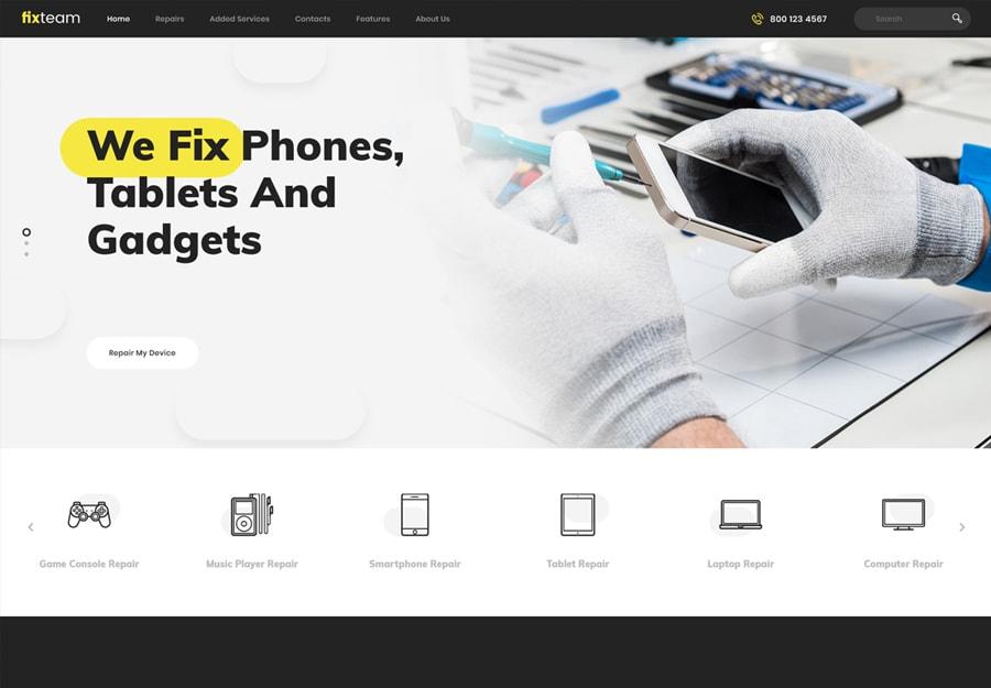 FixTeam | Tema WordPress para Reparação Eletrônica de Dispositivos
