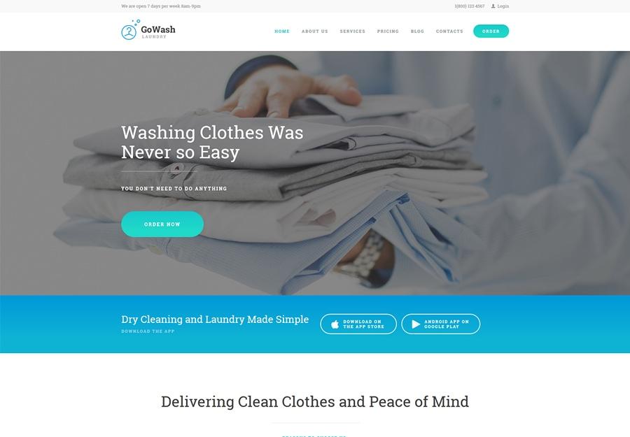 GoWash - Tema WordPress para Lavagem a Seco e Serviço de Lavanderia
