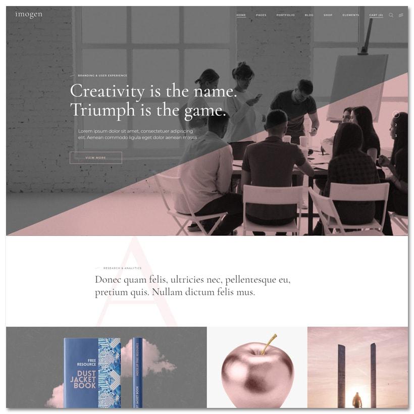 Imogen - Tema WordPress elegante para designers e empresas criativas