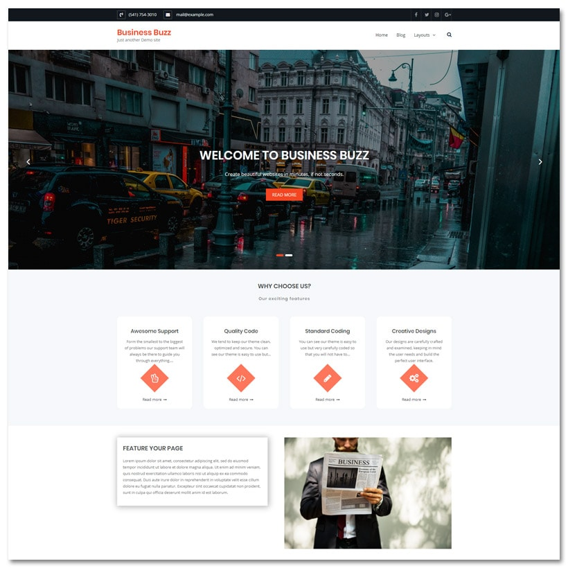 Business Buzz - Tema WordPress Multipropósito Elegante e Limpo