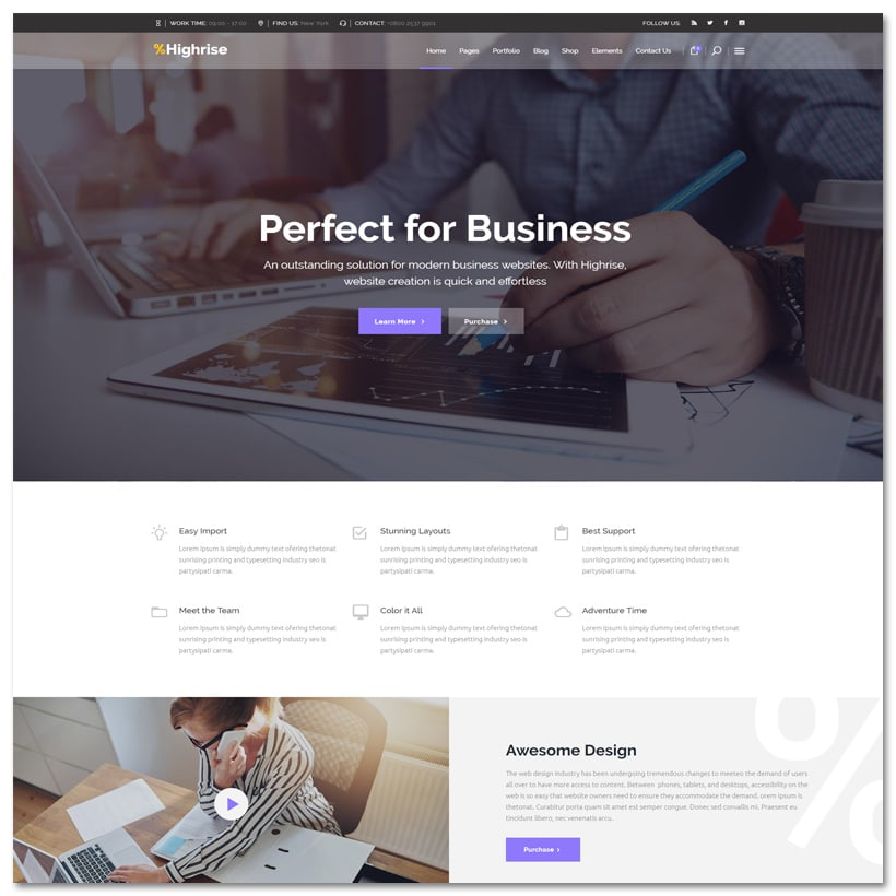 Highrise - Tema WrodPress para Empresa, Corporação e Consultoria
