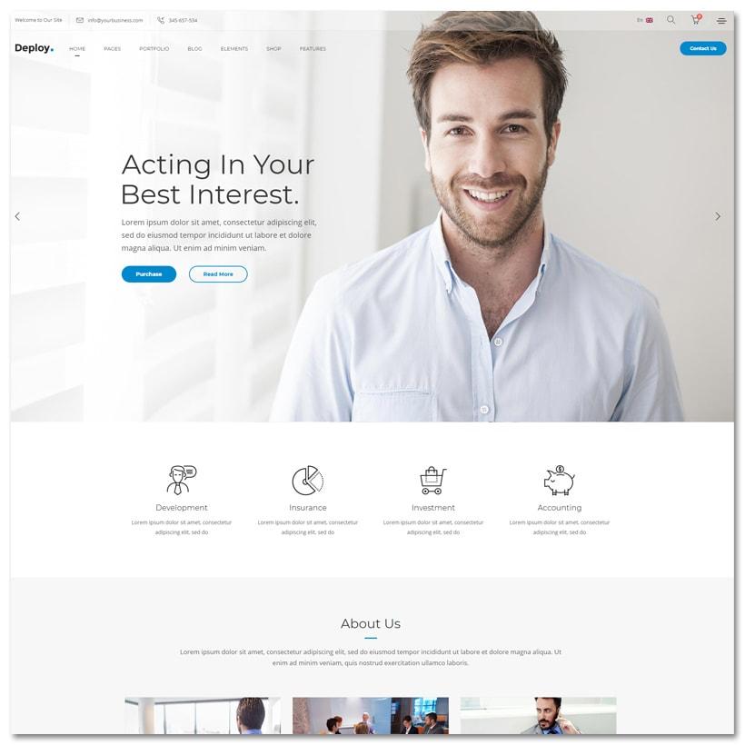 Deploy - Tema WordPress Limpo para Negócios e Consultoria