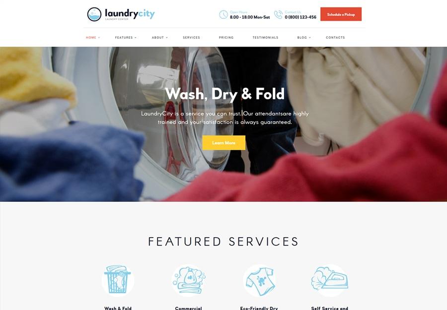 Laundry City - Tema WordPress para Lavagem a Seco e Serviços de Lavanderia