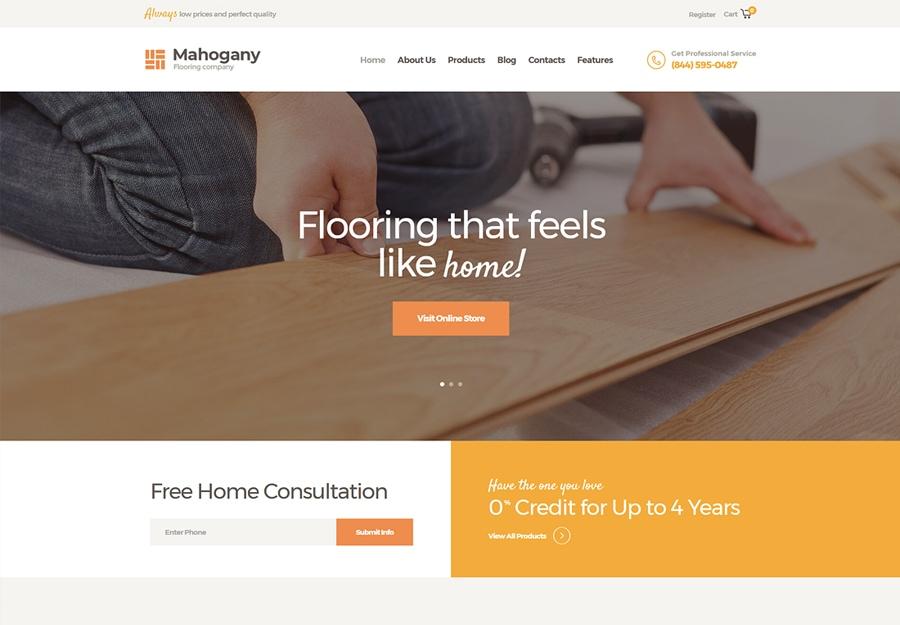 Mahogany - Tema WordPress para Empresa de Revestimento