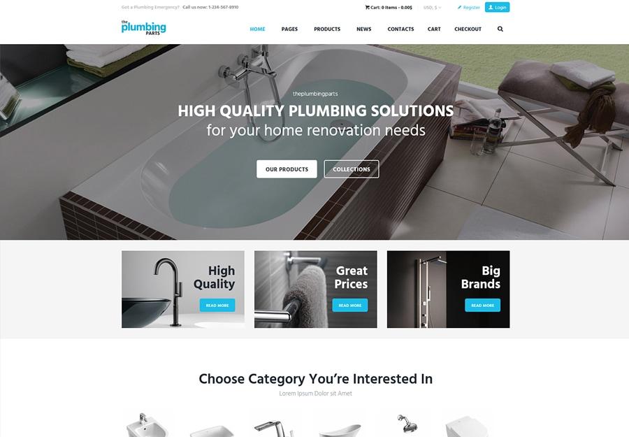 Plumbing Parts - Tema WordPress para Peças de Encanamento, Ferramentas e Acessórios