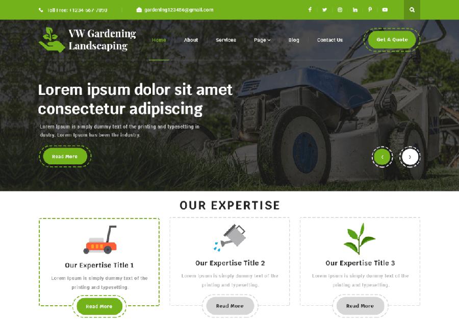 VW Gardening - Tema WordPress para Serviços de Jardinagem e Paisagismo