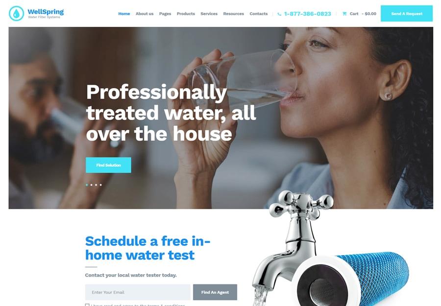 WellSpring - Tema WordPress para Filtros de Água e Entrega de Água
