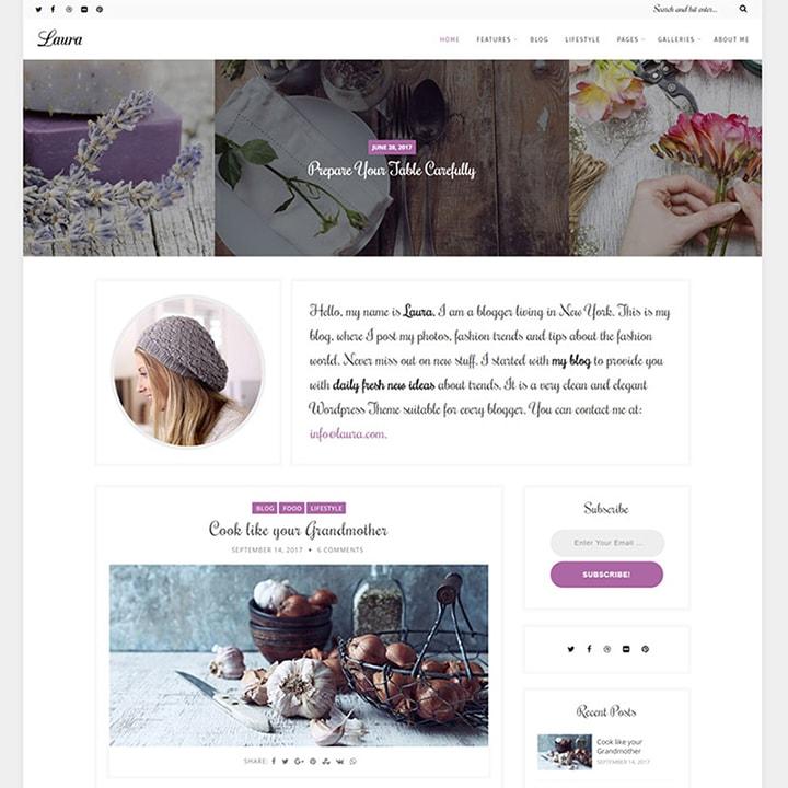 Laura - Tema WordPress para Blogs Feminino