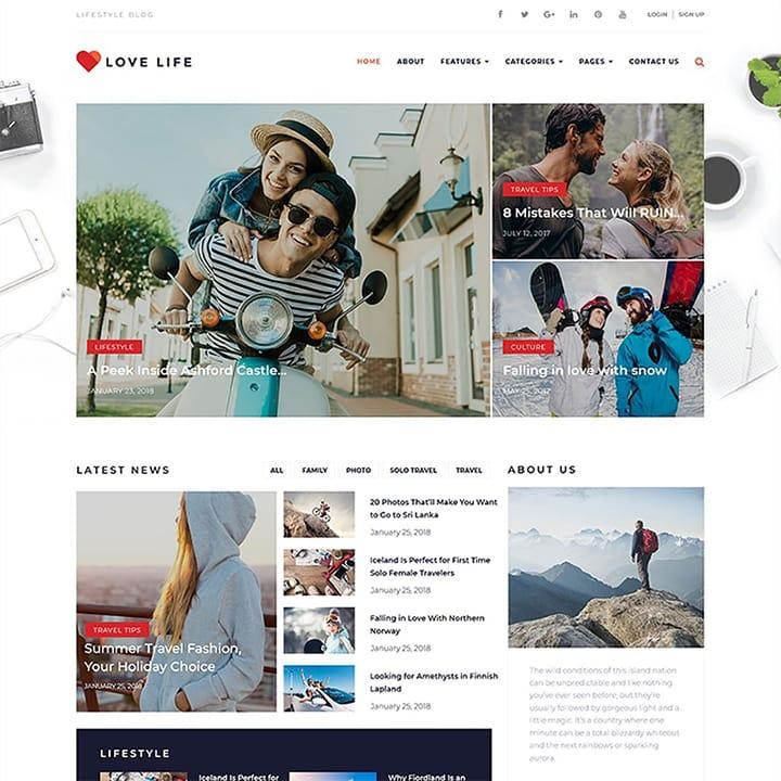 Love Life - Tema WordPress para Blog Pessoal Responsivo
