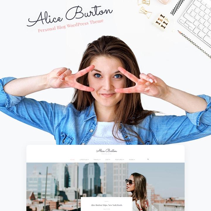 AliceBurton - Tema WordPress para Blogs Pessoais Femininos