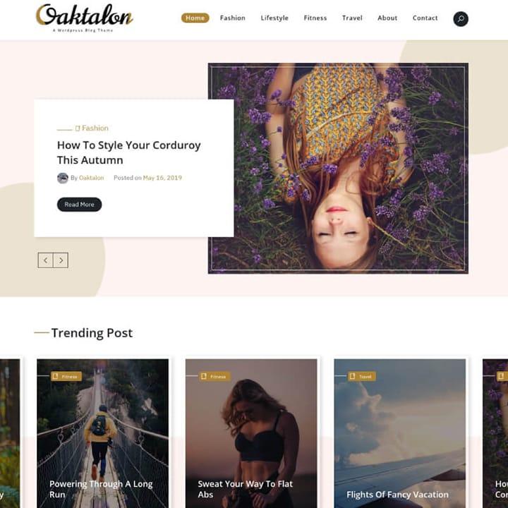 Oaktalon - Tema WordPress para Blog de Moda e Viagem