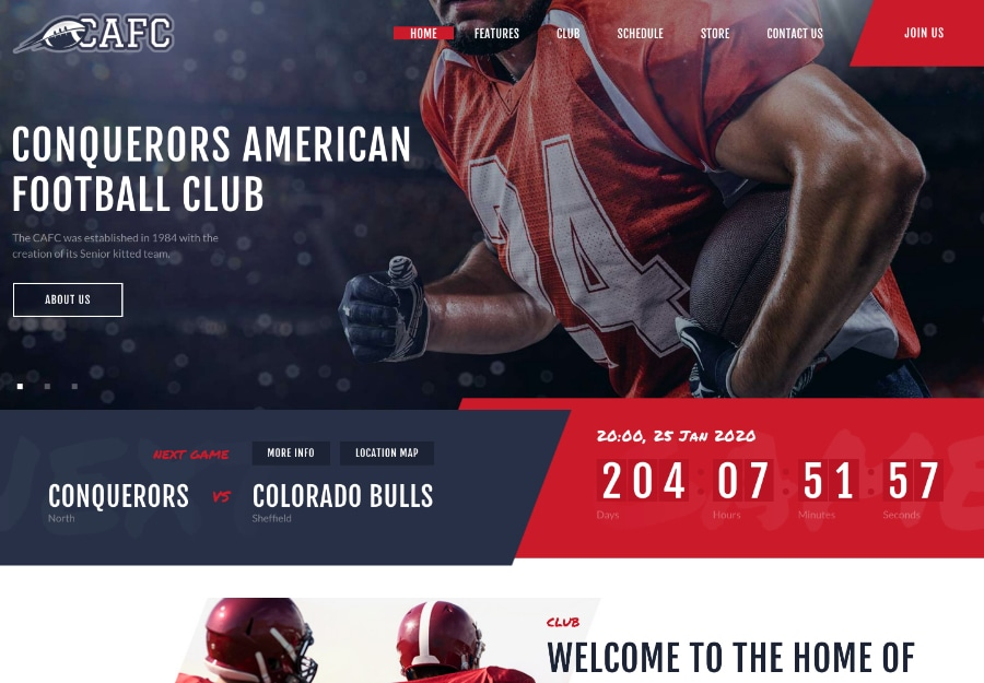 Conquerors - Tema WordPress para Club de Futebol Americano