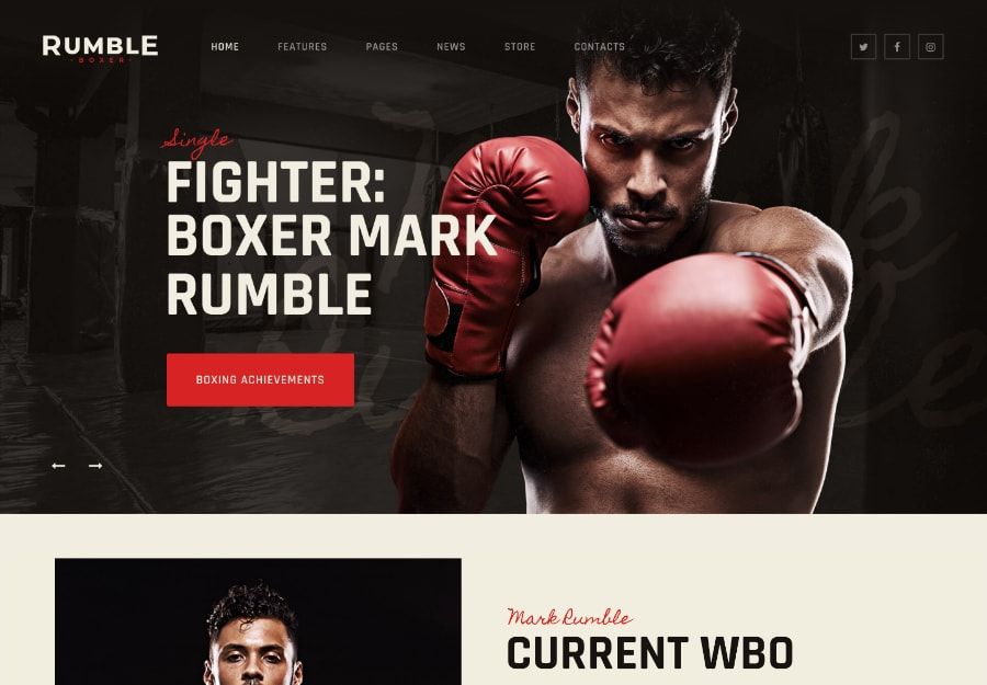 Rumble - Tema WordPress para Boxing e Artes Marciais