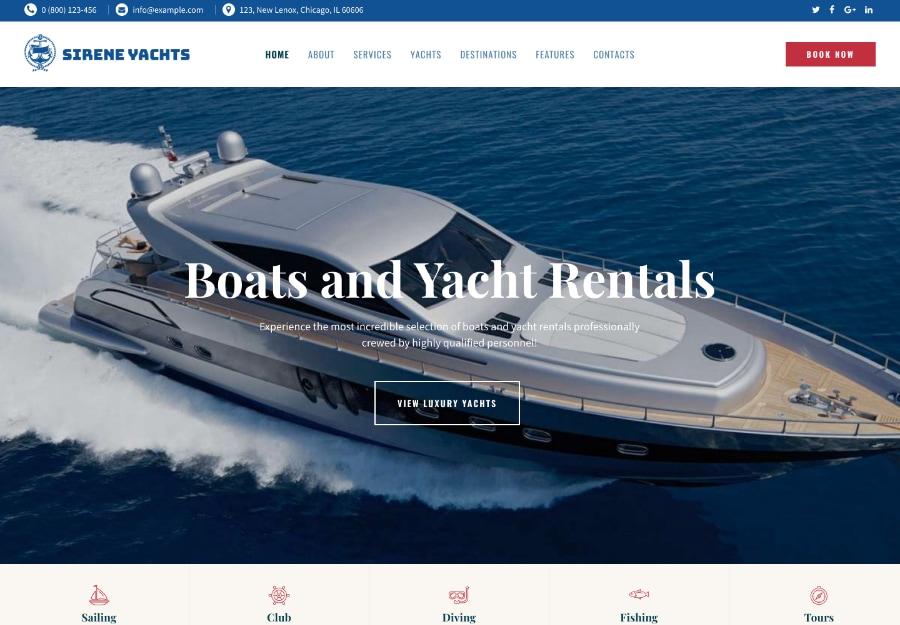 Sirene | Tema WordPress para Aluguel de Barcos para Passeio
