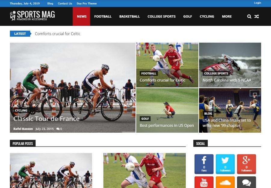 SportsMag - Tema WordPress Estilo Magazine para Esportes e Atletismo