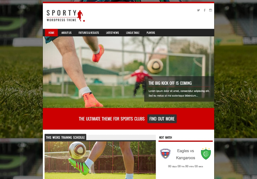 Sporty - Tema WordPress para Esportes Atléticos