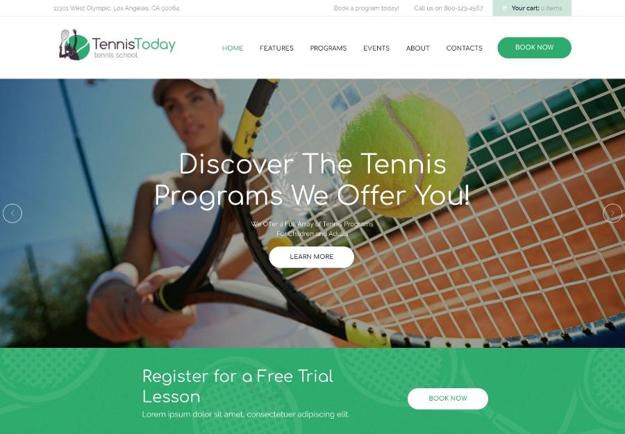 Tennis Today - Tema WordPress para Eventos e Escola de Esportes
