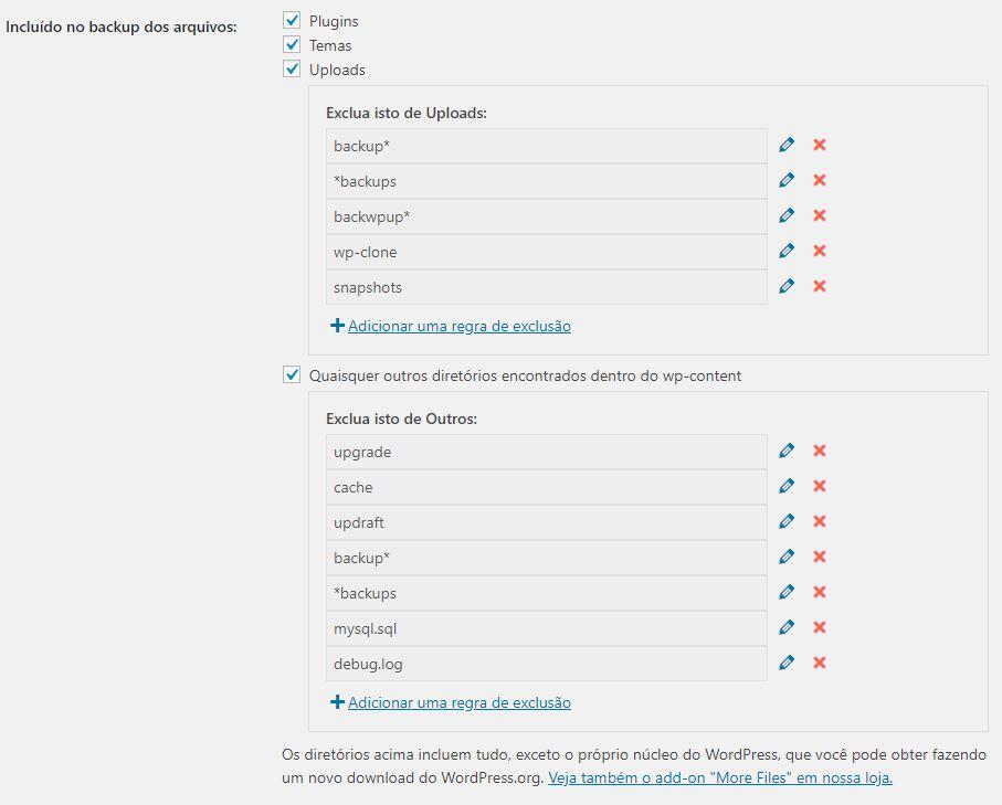 UpdraftPlus Escolha de Arquivos e Pastas para Backup