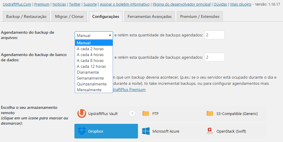 UpdraftPlus Escolha o Agendamento do Backup