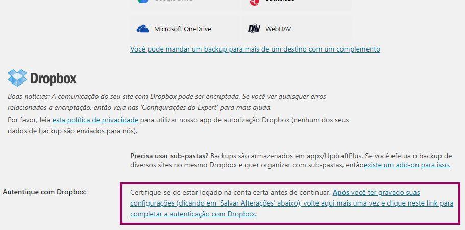 UpdraftPlus Link de Conexao