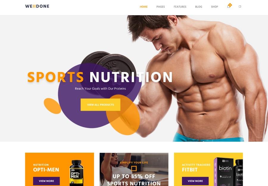Welldone - Tema WordPress para Loja de Suplementos e Nutrição de Esportes e Ginásticas