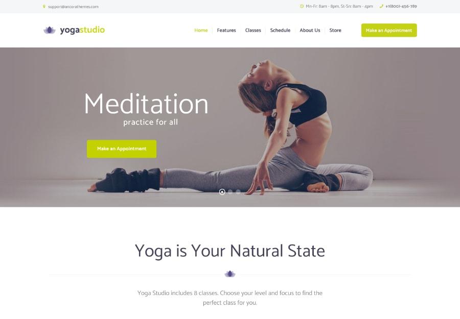 Yogastudio - Tema WordPress para Academia e Assistência medica