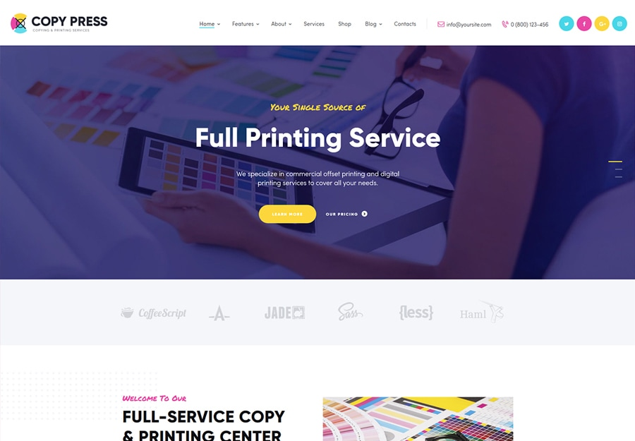 CopyPress - Tema WordPress para Estúdios Gráficos