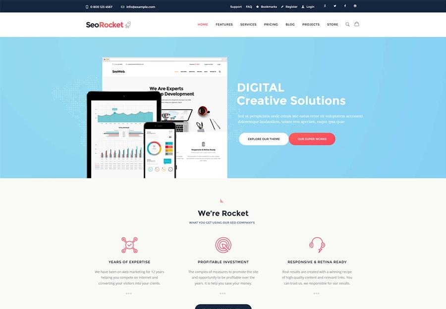Seo Rocket - Tema WordPress para Marketing e SEO