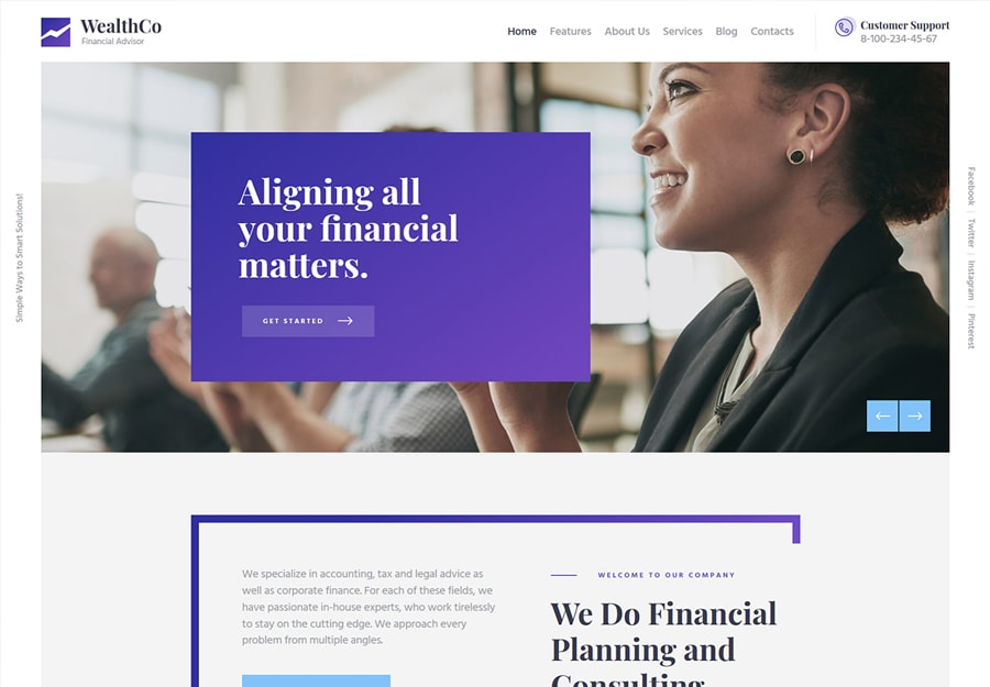 WealthCo - Tema WordPress Consultores Financeiros e Negócios