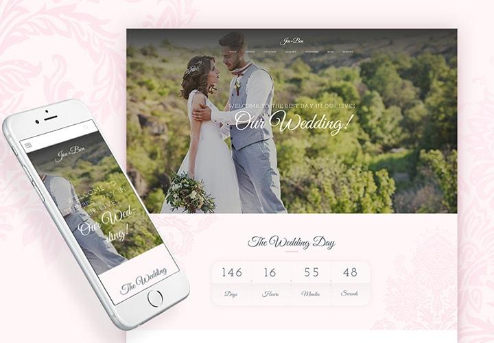 Jen+Ben - Tema WordPress One Page para Casamentos